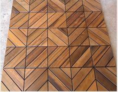 The Dubai pattern of Itauba Brazilian Hardwood deck tiles allows for some very unique installations. Wood Parquet, Timber Flooring, Parquet Flooring, Wood Tiles, Wood Floor Pattern, Floor Patterns, Tile Patterns, Floor Design, Ceiling Design