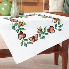 Duftin Butterflies Border Table Topper Stamped Cross-Stitch Kit