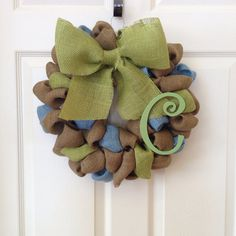 Blue and green burlap wreath with monogram by onceuponaflowerbyMW, $29.00