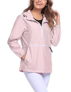 9e211a3f9bf7f Shop Women s Rain Jacket Lightweight Windproof Waterproof Outdoor Hooded  Rain Coat - Pink - and Discover a Huge Selection of Women s Activewear at  ...