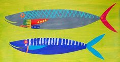 Grey and Blue fish painting/collage www.fish-and-ships.com