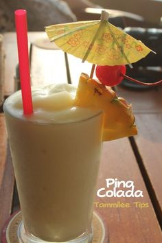 Pina Colada Ingredients 3 ounces of rum 2 ounces Cream of Coconut 2 ounces Pineapple Juice Crushed ice (enough to fill the serving glass). Directions 1. Add ice, cream of coconut, pineapple juice and rum to the Blender, Blend until smooth. 2. Pour into a Hurricane Glass and garnish.