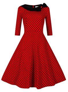 Polka Dots Bateau Mid-Length Red 50s Vintage Style Dress