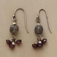 """ROMANCING THE GARNET EARRINGS--Can't-miss gifts handcrafted with romantic red garnets, smoky labradorites and a smattering of sterling silver. Sundance exclusive. 1-1/8""""L."""