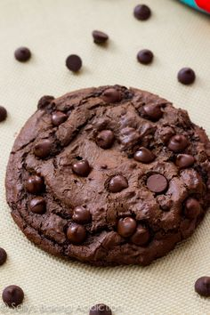 A giant double chocolate cookie that is easy to make and extra fudgy inside. Tastes like an oversized brownie!