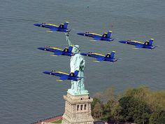 Happy Memorial Day ~ Blue Angels flying over the Statue of Liberty in NYC | Flickr - Photo Sharing!