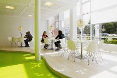 Cool, fresh break room design concept – sunken floor with differing vibrant color.