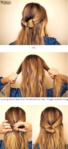 Half up hair bow tutorial <3 #hairstyle #tutorial #bow