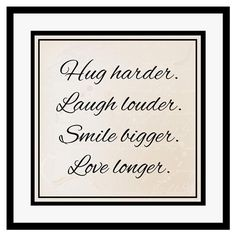 Hug, Laugh, Framed Print, 40x40cm
