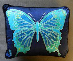 Handmade Handpainted Silk Butterfly Pillow by WomensMemoirWriting