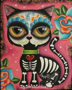 Day of the Dead cat cute tim burton original by Spookarium on Etsy