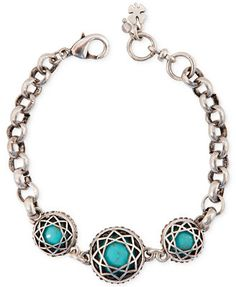 Lucky Brand Silver-Tone Reconstituted Turquoise Stone Bracelet