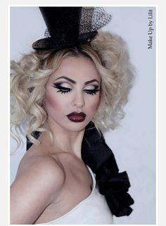 by - Halloween,Holiday Fun,Makeup,Makeup-looks, Ideas Maquillaje Carnaval, Maquillaje Halloween, Makeup Art, Beauty Makeup, Hair Makeup, Hair Beauty, Mime Makeup, Burlesque Makeup, Fantasy Make Up
