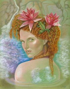 Water Nymph / Colored Pencils, Combination Technique / 19.5 x 25 in #art #coloredpencils #fairies #fantasyart