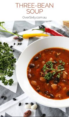 Three-Bean Soup - This simple, protein-packed vegetarian soup will warm and nourish you on those chilly winter days.
