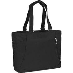 Shelby is a great casual tote for the woman on the go. This versatile bag features a large zippered main compartment, zippered accessory pocket on front panel, open cell phone pocket on back panel, side water bottle pocket, and open inner pocket fits most 15  notebook computers. There is a large del