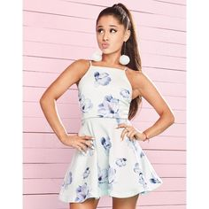 Ariana Grande For Lipsy Floral Frill Hem Skater Dress ($65) ❤ liked on Polyvore featuring dresses, summer skater dress, flounce hem dress, flower print dress, pink summer dresses and pom pom dress