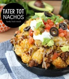 Tater Tot Nachos- made these tonight with beef, added a bit of water to taco seasoning tbsp). Made tater tots in casserole dish. didn't add enough cheese. use fresh salsa from local mexican market (added salsa and sour cream to individual plate- Tater Tot Nachos, Tater Tots, Tator Tot Taco Casserole, Nacho Fries, Mexican Food Recipes, Beef Recipes, Cooking Recipes, Nacho Recipes, Easy Recipes