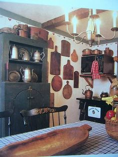 I would love to have this beautiful large bread bowl....and some of the other precious items in this kitchen.