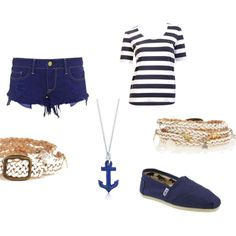 Sailor Outfit, created by archi-reb on Polyvore Sailor Outfits, Cloths, Shoe Bag, Halloween, Spring, Polyvore, Summer, How To Wear, Collection