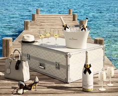 Champagne Bar - Moët & Chandon are ringing in the summer season by offering up this limited-edition Ice Impérial Summer Escape Trunk, which is essentially a . Champagne France, Champagne Bar, Vintage Champagne, Mini Bars, Fresco, Types Of Wine, Relax, Stir Sticks, Romantic Scenes