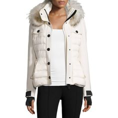 Moncler Quilted Ski Jacket w/Fur Hood ($2,705) ❤ liked on Polyvore featuring outerwear, jackets, cream, women's apparel jackets, stand collar jacket, pocket jacket, white ski jacket, fleece-lined jackets and moncler jacket