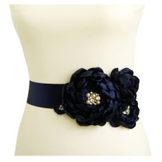 Navy Blue Wedding Belt for Bride to Be....would be totally adorable if you found the right dress to go with something like this.
