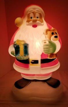 5a9d65b6feaad General Foam Blow Mold Lighted Big Eye Santa Claus St Nick w  Teddy Bear  Present  GeneralFoam