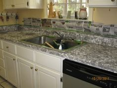 Step 1 - painted gray - paint countertops to look like granite