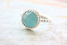 Marine Blue Chalcedony Ring - Feminine Beaded Band, Crown Bezel, Great Stacking Ring - READY TO SHIP, Size 7, or Customize Your Own