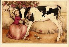 Vintage Greeting Card with cow (VOOR HET KIND  Mej.J. van Hoboken Jonge Lente)