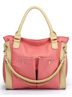Pink Messenger Shoulder Bag With Quilted