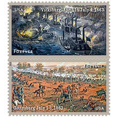 Civil war series US postage stamps. 1863-2013.