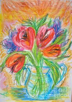 oil pastels flowers