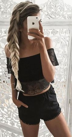 #summer #ultimate #outfits |  Black Off The Shoulder Crop + Black Tassel Trim Shorts