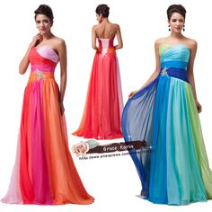 Grace Karin Colorful rainbow Beaded Chiffon Long Formal Evening Dress Blue Green Prom gown Party Celebrity Dresses 2015 CL6069