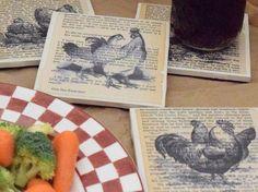 "Handmade ""Vintage Farmhouse Chicken"" Coasters | Set of 4 | Ceramic Tile Coasters #Handmade"