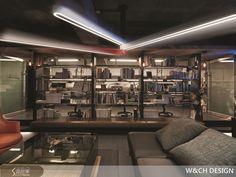 天花板上以時針、分針、秒針設計成主燈並點出時間主題,相當精巧而且已申請了設計專利。