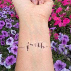 Faith Tattoo Arm Tattoo Temporary Tattoo by WhiteRabbitsDesign Wörter Tattoos, Neue Tattoos, Word Tattoos, Trendy Tattoos, Forearm Tattoos, Temporary Tattoos, Faith Tattoos, Cross Tattoos, Easy Tattoos