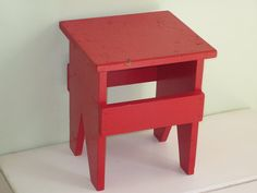 Vintage RED Wood Footstool Bench & Vintage Wooden Stool Primitive Wood Footstool by BridgewoodPlace ... islam-shia.org