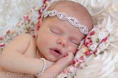 Newborn Photo Shoot - Princess with bracelet and tieback headband - Photo by Crystal Lugo Photography