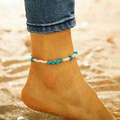 Beach Fashion, Boho Fashion, Beachy Anklets, Stone Gold, Birthday Gifts For Girls, White Beads, Ankle Bracelets, Turquoise Stone