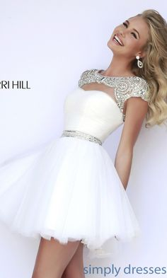 Dress, Short High Neck Sherri Hill Dress - Simply Dresses *also in green, pink, purple, and turqouise