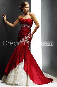 Elegant Taffeta Trumpet/Mermaid and Lace Hot Sell Strapless Wedding Dress WM-0094