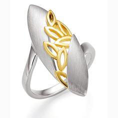 Breuning Yellow Gold & Rhodium Plated Ring