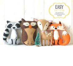 Woodland Stuffed Animal Patterns, Felt Fox Owl Deer Raccoon Plushie Patterns, Deer Fox Owl Raccoon Softie Patterns, Hand Sewing, Easy on Etsy, $12.00