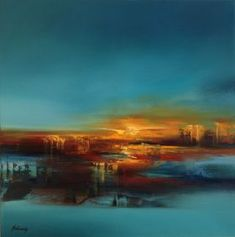 Evening Lights - 80 x 80 cm, turquoise, orange, blue abstract landscape oil painting by Beata Belanszky Demko