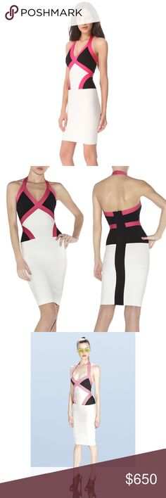 "HERVE LEGER ANDIE COLORBLOCKED BODYCON DRESS Brand new with tags. Never worn. Perfect condition. Comes with Herve Leger bag, tissue and copy of receipt.  Go for revolutionary style with a dramatic punch when you opt for this refreshed colorblock dress. V-neck. Halter strap. Criss-cross bandage detail at bodice. Colorblocked bodice. Bandage construction. Concealed center back zipper with hook-and-eye closure. Rayon, Nylon, Spandex. 33"" body length from strap joint, 30"" chest circumference…"
