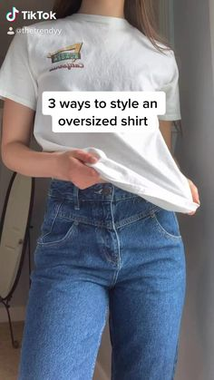 Cute Casual Outfits, Casual T Shirts, Teen Fashion Outfits, Look Fashion, Shirt Hacks, Diy Fashion Hacks, Fashion Tips, Jugend Mode Outfits, Mode Streetwear