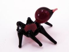 Small Glass Spider Sculpture Art Collectible Artglass Lampwork Miniature Mini Spider Little Glass Animal Figurines Animals Murano Gift Blown